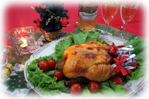 クリスマスディナーに丸焼きチキン